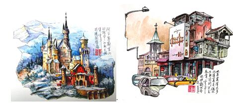 伊斯坦布尔/左图:德国新天鹅堡右图:土耳其伊斯坦布尔的基督教堂...