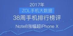 38周手机排行榜评:Note8涨幅超iPhone X