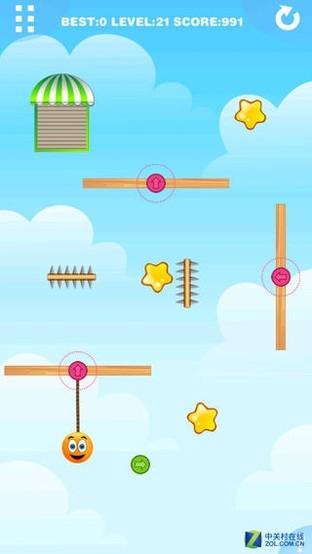 App今日免费:另类割绳子 重力橙子2
