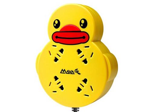 玛雅 小黄鸭创意插座d460p 防雷防涌 新国标4位总控接线板