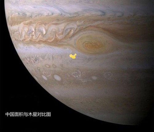 我们再来看看星球大小.那个小黄碎片就是中国在木星上的样子.