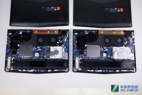 内部结构拆解屏幕考察 下面我们开盖检视两台机器的内部结构,以下所有图片都按照GTX1050Ti版位于左侧,GTX1050版位于右侧的方式陈列。两款机器的内部结构基本一致,目前我已经发现的区别就是高配的网卡采用的是英特尔3165NGW无线网卡,1050显卡的中配版并没有采用Intel的无线网卡。 目前的固态硬盘行业当中,NVME协议成为新的标准,也对PCIE通道的新固态硬盘提供了完善的支持。PCI-E通道可以为固态硬盘提供Sata远远无法企及的带宽,是未来的发展方向。目前PCI-E固态中,三星和Intel齐