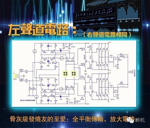 主电压放大电路采用串联互补对称差分线路,即菱形差动放大电路,俗称x