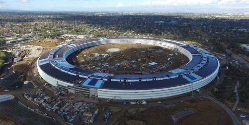 苹果飞碟总部主体结构完成