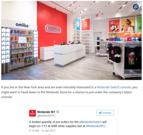 任天堂实体店nintendo store将会在美国当地时间13号开幕(引自twitte