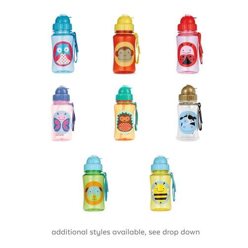 Skip Hop Zoo Straw Bottle 卡通动物系列 宝宝吸管学饮杯,采用卡通动物系列宝宝吸管学饮杯,是专为宝宝而设计的水杯,不含BPA,铅等有害物质,防漏设计,滑盖隐藏式吸管,更加卫生方便实用,亮丽的色彩及可爱的图案,吸引宝宝的眼球;可旋转吸管杯盖,确保即使不使用时,也可保持卫生干净;赠送独立可更换吸管+防掉可挂手腕带,可挂在推车等物件上,方便使用。宝宝出行必备;美国众多明星妈妈力荐的自家宝宝使用和馈赠首选佳品。