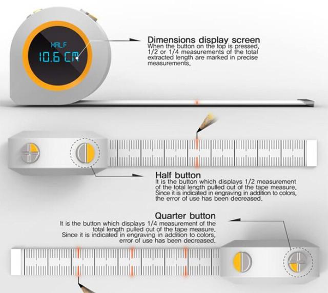 Half& Quarter卷尺(图片源自creativecloseup)   此外,Half & Quarter采用了更厚的设计,内置了LED灯条,也就为产品提供了一项实用的功能,就是在拉出的卷尺界面上直接显示中点和四等分点,用户可以更加方便地标记不同的位置,避免计算差错和标记错误的影响。