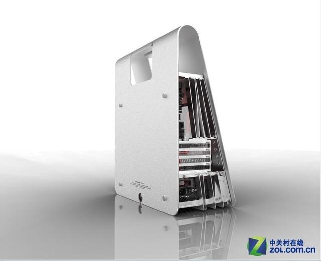 该机箱是独立设计制作,从草图到最终成品DIY味十足 色彩搭配上,大面积的铝合金原色搭配局部小面积活跃的亮色,体现出现代审美特点,具有强大的视觉冲击力。与市场上现有的电脑机箱相比M-PACKAGE在外观上别具一格,不同于传统电脑机箱,打破长久以来一直沿用的大致长方体的造型,从两侧看外形酷似英文字母A,若与市场上众多电脑机箱摆放在一起,立马回脱颖而出。