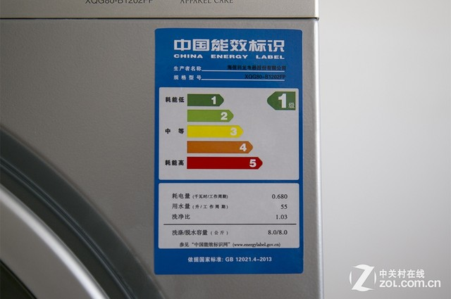 这款洗衣机符合1级能效标准 如图为某品牌滚筒洗衣机的等效标识,在标识中可以看到厂商的名称以及产品的型号,同时以非常醒目的1级等效进行了标注。在耗电量方面,更是进行了明确的标注,仅为0.68千瓦时,也就是说,每个小时的耗电量仅为0.68度。此外,我们还能看到洗衣机的用水量为55升,洗净比为1.