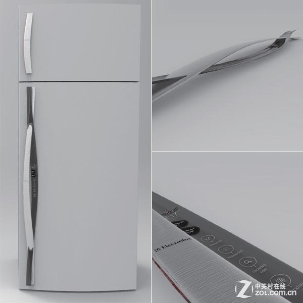 创意十足的冰箱门把手 这款冰箱的门把手,除了具有传统门把手的作用,还别出心裁的设计了显示屏。在显示屏中,可以针对用户放进冰箱食物中的位置,来实现相应的显示。也就是说,在打开冰箱门之前,就可以显示出上次放进的食物处于第几层的位置,非常人性化。这一点,对于平时冰箱就非常凌乱,经常找不到东西的用户来说尤为适用。除此之外,这款冰箱还内置了WiFi无线网络功能,可以与智能手机想连接,大家在手机屏幕中就可以找到食物的放置位置,使用更为方便。