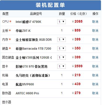 i7 4790K+970 7000元游戏DIY配置推荐