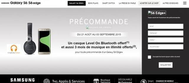 三星法国官网透露:21日起预定S6 Edge+