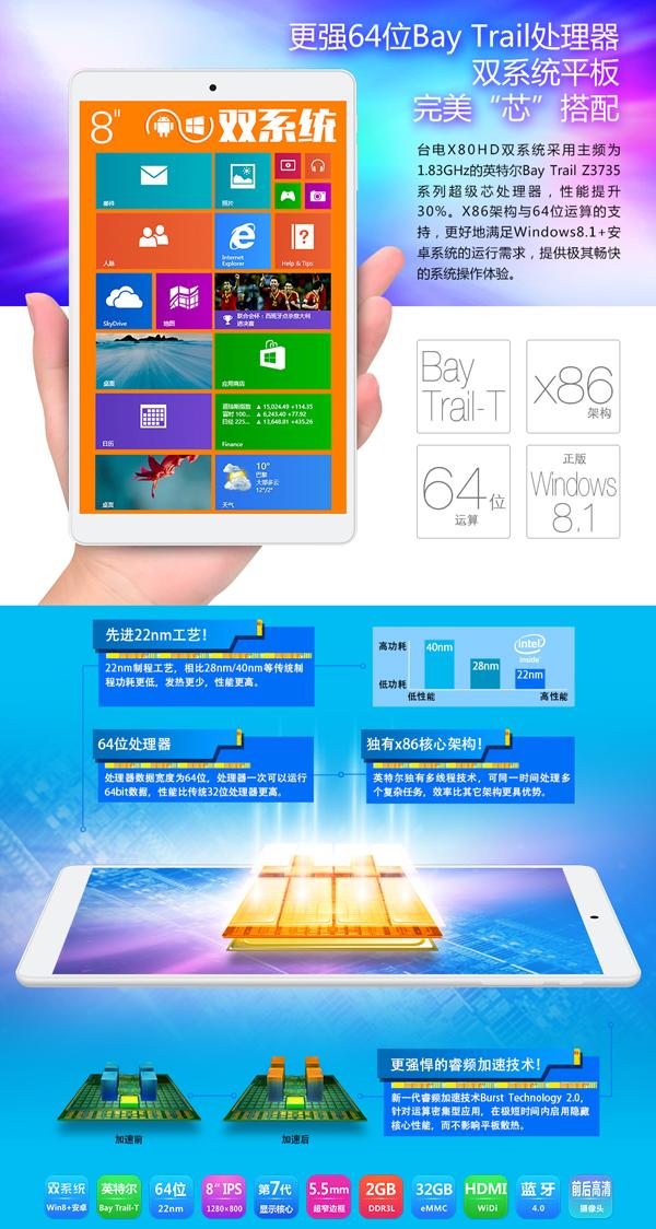 Intel微软奉献 台电X80HD送蓝牙键盘再返券