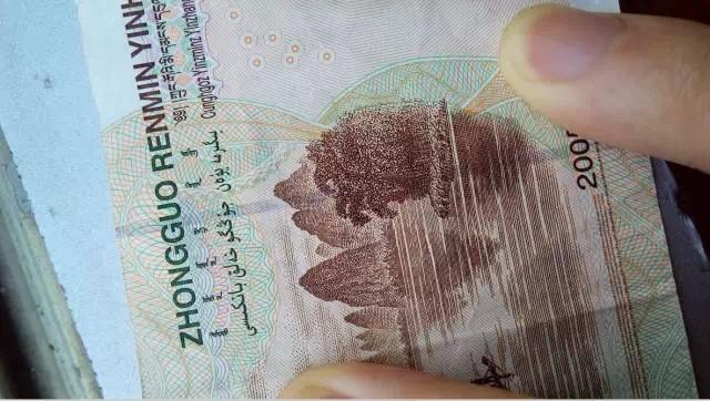 拍一张二十元人民币背面,尽量是干净整洁的纸币,这样便于观察.