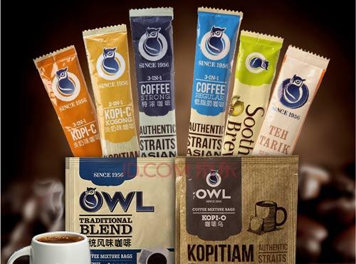 新加坡进口OWL猫头鹰咖啡奶茶姜茶综合口味组合特惠8条装