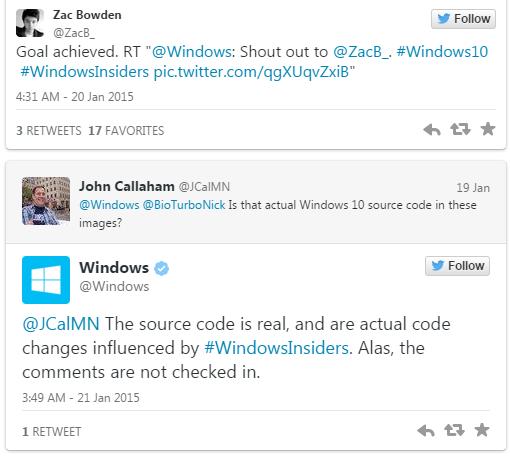 感谢Win10测试者 微软发创意源代码致意