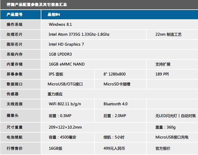 499元超低价Win8.1平板 品铂 W4评测