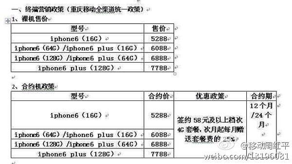移动iPhone6合约曝光:每月返套餐的25%