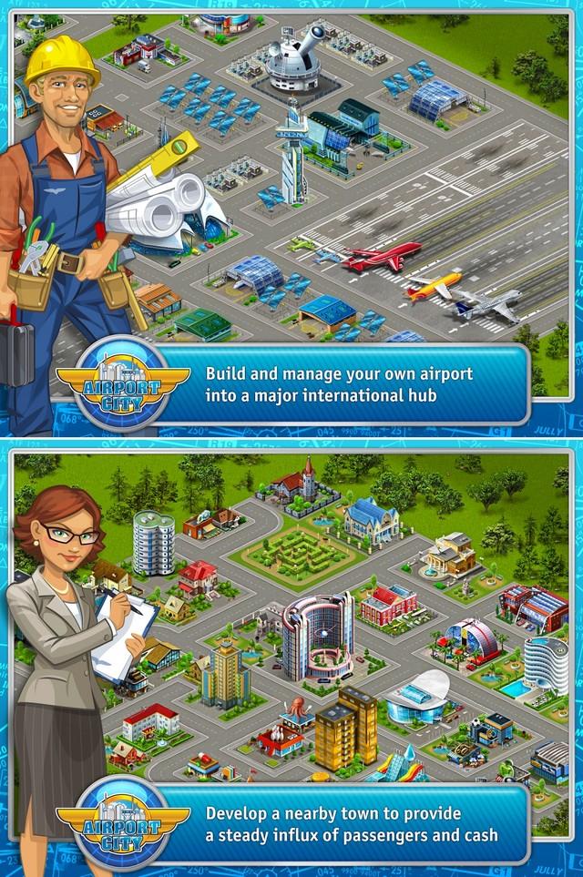 游戏截图   城市一开始会有明显的机场与市政区区分,位于右方的航站区是机场的重心,这里可以放置跑道、停机坪、管制塔等航空设施,只要有飞机和跑道便能开始营运,一间停机坪只能停放一架飞机,初期购买的螺旋桨飞机只要最小的跑道就能启动,随着游戏进展能够买的机型增大,起降跑道的占地便会越多。点选停机坪可以选择航班出发,这时飞机会在跑道上准备,用滑鼠点几下填满旅客和燃油便会升空,自己的飞机升空后每隔几分钟便会有别处空港的飞机要求降落,只要引导它们进来就能获得额外奖励,不过也得消耗少数旅客或燃油。