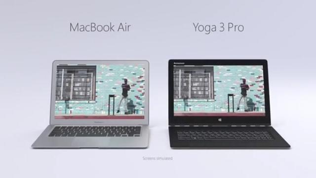 YOGA比拼Air 微软讽苹果不能变形触控