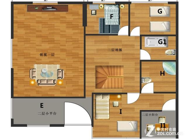 别墅二层平面图