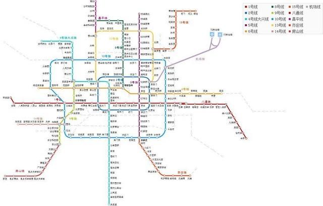 北京地铁线路图(来自百度地图)