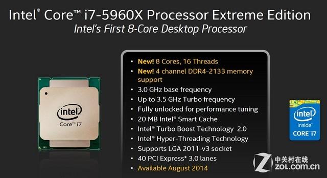 8核5960X配DDR4 Intel Haswell-E首测
