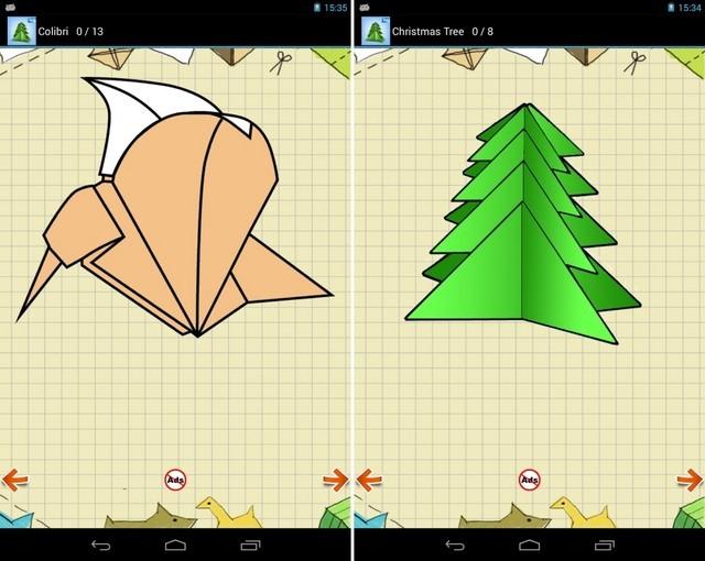 应用将70余种折纸形体的折叠步骤分解开来,用户可通过3d动画来一步步