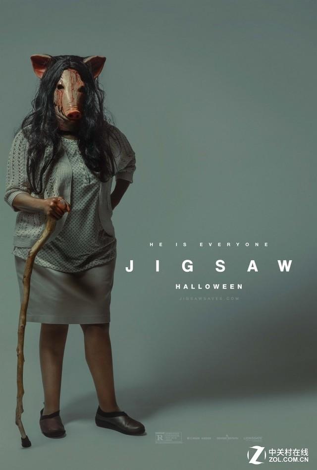 《电锯惊魂8》诡异海报 妹子戴猪头面具