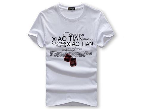 男士莱卡棉圆领印花短袖T恤