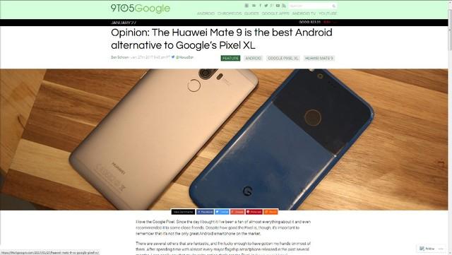 科技外媒看Mate 9:比谷歌亲儿子强不少
