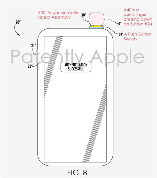新专利:iPhone 8或电源键集成指纹识别