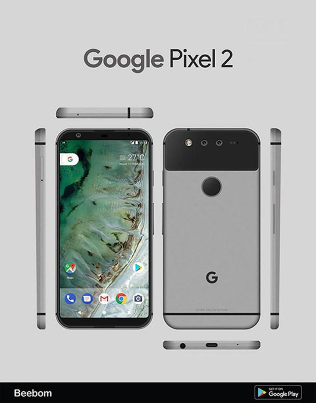 Pixel 2最新渲染图 后置双摄/屏占比大
