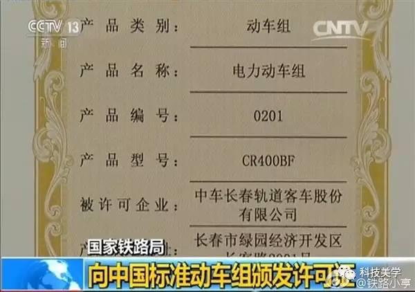 青岛四方机车,中车长春轨道客车颁发了中国标准动车