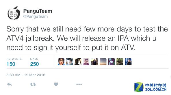 盘古 :仍需要测试 Apple TV 4越狱延迟发布