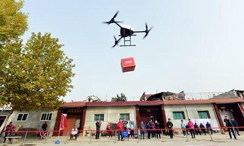 缘定西安 京东40万个村庄无人机送货目标