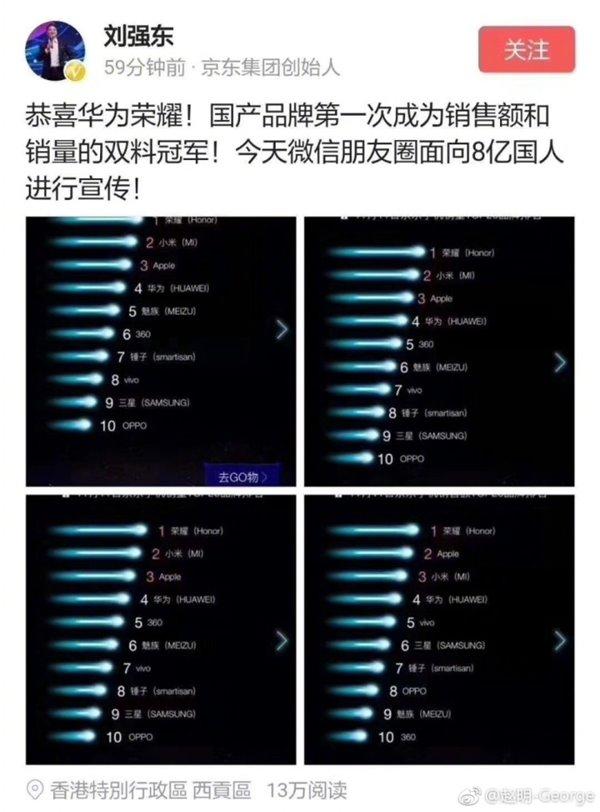 荣耀手机夺双11双料第一 刘强东亲自祝贺