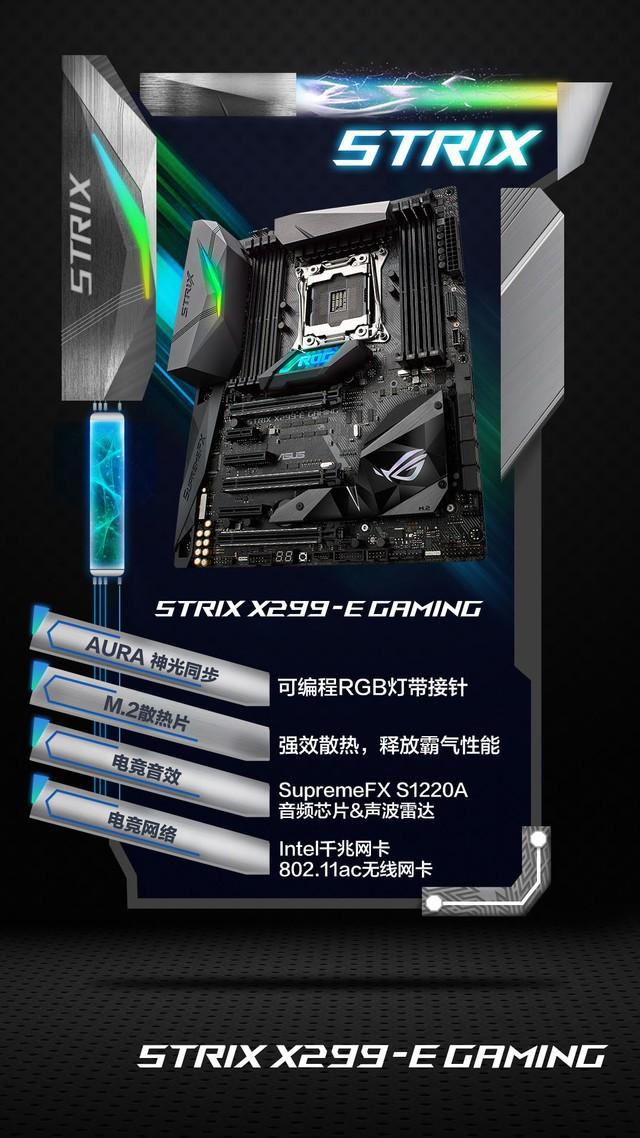 ROGSTRIXX299-EGAMING主板是一款专门为电竞游戏玩家打造的发烧利器。它集诸多电竞增效技术于一身,包括电竞音效、电竞网络、电竞提速、电竞守护、电竞快速互联、电竞氛围灯等等,可显著提升玩家们的游戏体验。进阶版AURASYNC神光同步技术,板载可编程RGB灯带接针,可自定义RGBLED颜色及灯效。支持AURASDK,可与游戏联动效果,营造神光闪耀的电竞氛围。再配上X299芯片组所拥有的发烧级性能,令ROGSTRIXX299-EGAMING主板堪称是游戏发烧友的不二之选。   在信仰主板、C