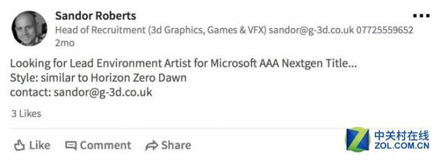 微软或正在开发一款3A大作 游戏风格类似《地平线:零之黎明》