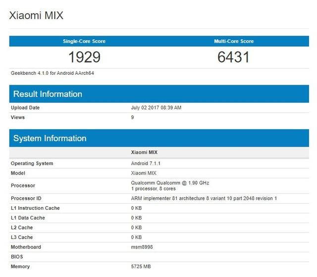 小米MIX 2跑分配置曝光 骁龙835配6GB