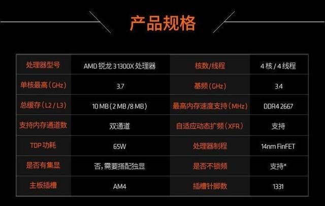 品质优性价比值 四核AMD锐龙3 1300X京东热卖