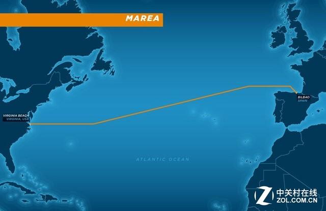 海底光缆MEREA   MEREA的起点是美国弗吉尼亚海滩,终点是西班牙的毕尔巴鄂,然后再延伸至欧洲、非洲、中东和亚洲等地区,随着这条海底光缆的建成,将更好地满足北美和欧洲有高速网络连接的客户的需求,同时也将进一步提升云计算业务和企业在线业务的应用体验。   MAREA的经营和管理由西班牙电信子公司Telxius负责,同时Telxius还肩负着销售这条集成8对光纤,传输速率可达160Tbps的海底光缆,供政企用户选购。而这主要得益于MAREA的开放性可与各种网络设备实现互操作,这也将降低企业升