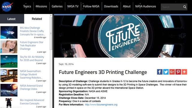 """美国国家航空航天局nasa发起的""""未来工程师3d打印挑战赛"""""""