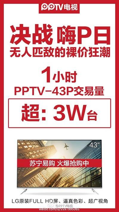 1799元!43英寸PPTV电视1小时销售破3万台