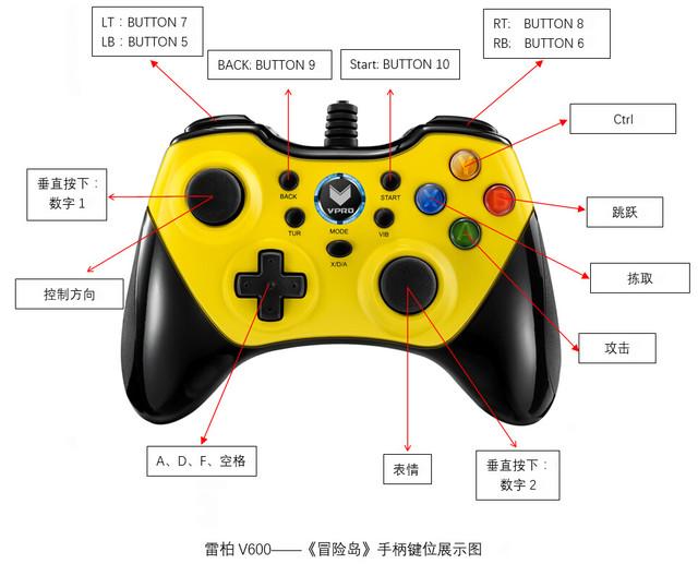 冒险岛-雷柏v600游戏手柄按键设置教程