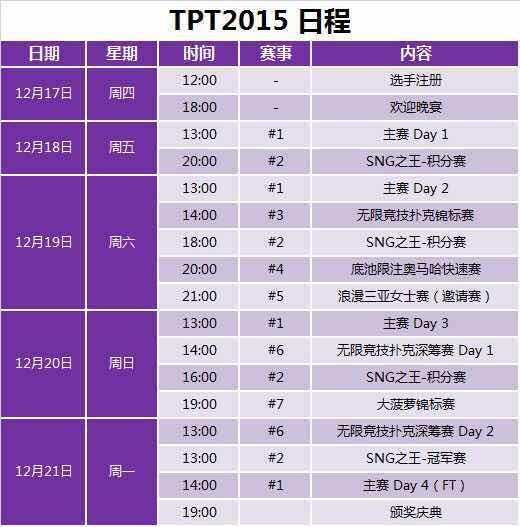 TPT2015首日众星云集 日程预告出炉