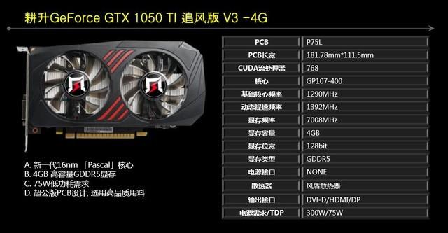 耕升GTX 1050Ti追风V3仅售1199元