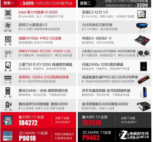 为体验而生 6500/GTX960游戏主机3599元