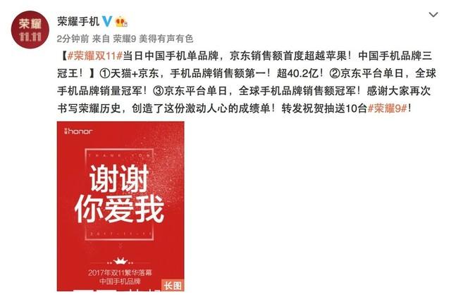 中国品牌首度超越苹果 荣耀双11实力夺冠