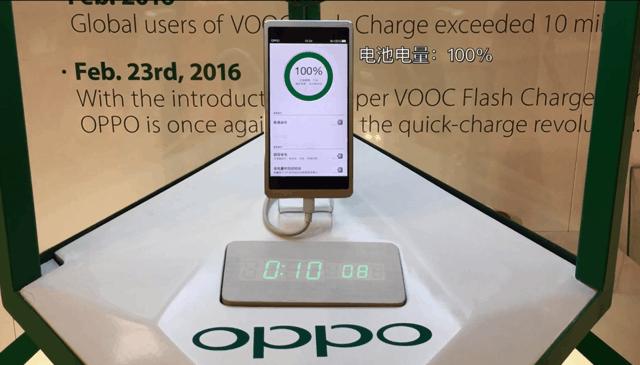15分钟手机充满电 OPPO超级闪充现身MWC
